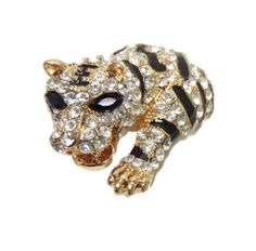 Crystal Tiger Ring Stretch C22 Clear Black Gold Tone Jungle Cat Animal New