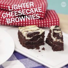 Indulge in a slightly less guilty dessert by baking up some of these Lighter Cheesecake Brownies.