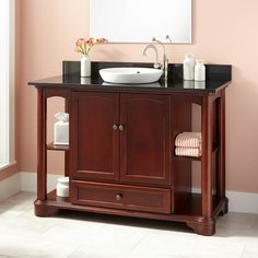 what colors are mahogany and millstone 48 quot ashford cherry vessel sink vanity bed and bath ideas 9628