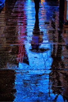 NYC Rain Umbrella Urban Abstract Abstract Blue Street by Orlansky Rain Photography, Reflection Photography, Street Photography, Reflection Art, Water Reflections, Rainy Street, Smell Of Rain, I Love Rain, Rain Days