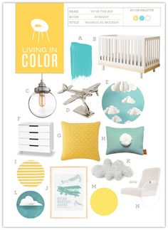 Nursery #16: Up in the Air | Hellobee – where was this when I was looking for nursery ideas?! Great way to convert nursery for possible future boy