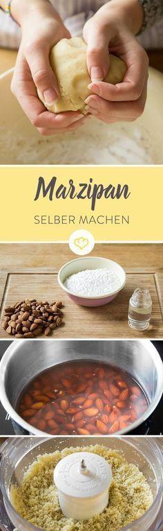 Du brauchst nur Mandeln, Puderzucker, Rosenwasser und 10 Minuten Zeit, um wunderbar frisch duftendes Marzipan herzustellen.