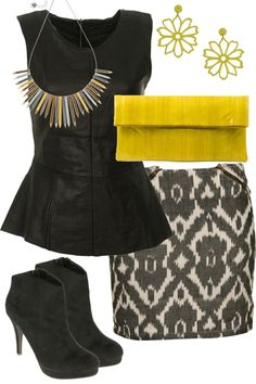 This party outfit could be worn for a party on Friday or on the weekend to impress your date. The items-skirt-with-leather-look-peblum-top-yellow-accessories reflect the colors I like and that will showcase my personality. Love this outfit!