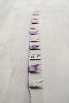 washi tape flags + bakers twine = CUTE! Use designer duc tape from michaels for bigger version