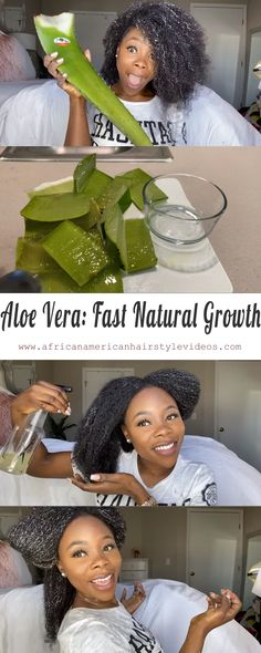 Homemade Aloe Vera detangler for massive fast hair growth for natural hair Best pre-poo routine ever hair remedies Homemade Aloe Vera For Fast Growth Grow Natural Hair Faster, Grow Long Hair, Natural Hair Tips, Natural Hair Growth, Natural Hair Journey, Natural Hair Styles, Aloe Vera, Hair Breakage, Hair Regimen