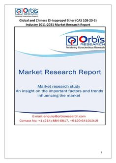 The 'Global and Chinese Di-Isopropyl Ether Industry, 2011-2021 Market Research Report' is a professional and in-depth study on the current state of the global Di-Isopropyl Ether industry with a focus on the Chinese market.  Browse the full report @ http://www.orbisresearch.com/reports/index/global-and-chinese-di-isopropyl-ether-cas-108-20-3-industry-2011-2021-market-research-report .  Request a sample for this report @ http://www.orbisresearch.com/contacts/request-sample/131757 .