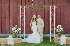 Red Barn Wedding / DIY Alter / Maggie Sottero