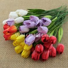 MIXED COLOUR MULBERRY PAPER TULIP FLOWERS WITH LEAF STEMS