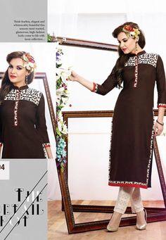 designer dark brown long kurti