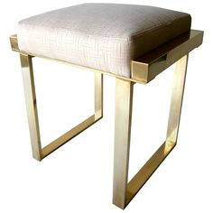 Brass Plated 'Boxline' Vanity Stool by Charles Hollis Jones, circa 1970s | 1stdibs.com