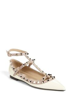 Valentino 'Rockstud' Double Ankle Strap Ballet Flat available at #Nordstrom.  $895.