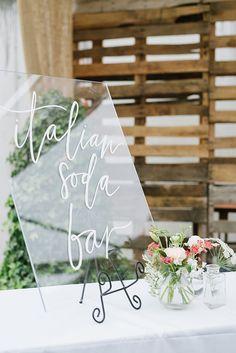 acrylic soda bar modern wedding sign with calligraphy
