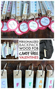 """That's My Letter: """"B"""" is for Backpack Fob Valentines, personalized candy free valentines"""