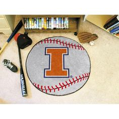 Illinois Fighting Illini NCAA Baseball Round Floor Mat (29)