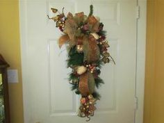 swags wreaths christmas   Fall-Christmas-Beaded-Fruit-Filled-Teardrop-Swag-Wreath-Natural-Bronze ...