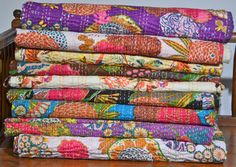 Queen size cotton kantha quilt throws in a variety of colours.  Available now at…