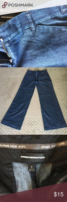 Express Editor Trouser Pants Express Editor Trouser Denim pants. Wide leg. Size 4 Express Pants Wide Leg