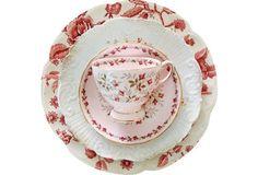 Mixed Pink China Tea Set