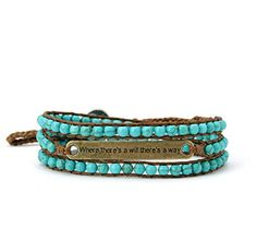 Affirmation Leather Wrap Bracelet Where Theres a Will Theres a Way with Turquoise Beads $34.98