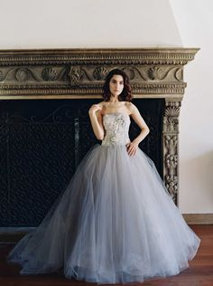 Off white, grey blue Sareh Nouri tulle ballgown from the 2017 Wedding Dress Collection