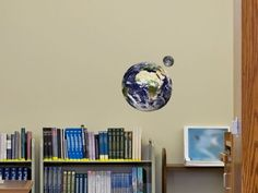 Small Educational Earth and Moon Wall Stickers Small Wall Stickers, Wall Decals, Moon Orbit, Our Solar System, Easy Install, Adhesive Vinyl, Planets, Home Goods, This Is Us