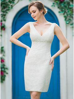 in der Art nur lang Etui-Linie V-Ausschnitt Knielang Spitze Brautkleid mit Perlen verziert