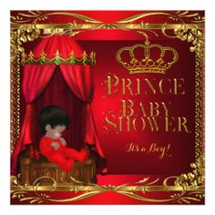 Little Prince Baby Shower Boy Regal Red Crown 6 Invitation