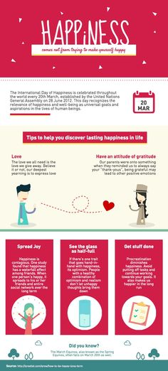 What is happiness? This PRO infographic template is designed in conjunction with International Day of Happiness and is perfect for uncovering facts about a special occasion. | Create your #infographic at piktochart.com
