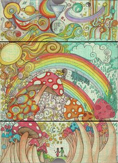 shrooooms #mushrooms #shrooms #magicmushrooms #psychedelic #trippy #art #drawing #rainbows