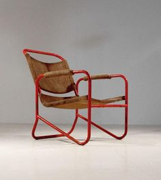 Bas van Pelt; Painted Tubular Steel and Wicker Armchair, (Probably for EMS, Den Haag), 1930s.