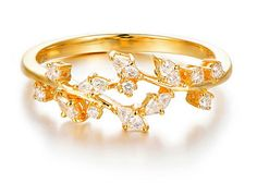 Solid 18k Gold Olive Branch Diamond Ring Wrap Diamond by HXStudio