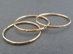 Thin Gold Rings 14 k Gold Filled Stacking Rings by bluebirdss