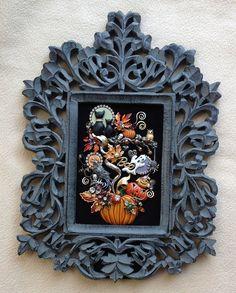 VINTAGE RHINESTONE JEWELRY FRAMED HALLOWEEN PIN TREE ART ~BLACK CATS PUMPKIN OWL AUTUMN ~ 2014