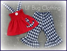 Custom Boutique Clothing Plaid Nautical 4th of July Anchor Smocked Top and Capris. $45.00, via Etsy.