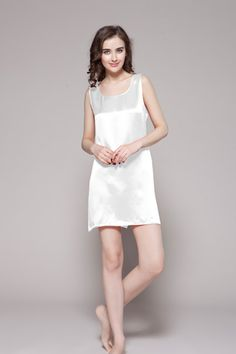 Our 100-percent pure and healthy silk nightgowns for women are carefully cut with side-cut hem. $86 #nightgowns #silk #lilysilk