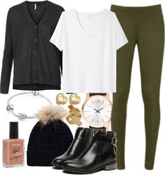 """Olive Green leggings - cold day"" by ieleanorcalderstyle ❤ liked on Polyvore"