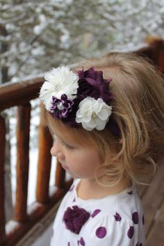 Ivory and plum girls headband. Photoshoot outfit, girls accessories, cute headband. La Bella Rose Boutique.