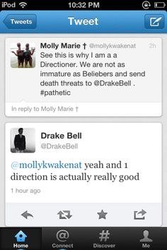 ❤ Now, for those people who laugh at me for liking One Direction, BITE ME!! Even Drake Bell likes them. :P