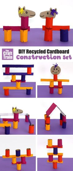 Make a fun and versatile cardboard DIY construction kit from recyclables. This is a great STEM project for kids with limitless possibilities, inspired by the book Fun and Easy crafting from Recycled Materials by Kimberley McLeod Diy Projects With Cardboard, Stem Projects For Kids, Kits For Kids, Fun Activities For Kids, Diy Craft Projects, Cardboard Train, Cardboard Crafts, Cardboard Boxes, Toilet Paper Roll Crafts