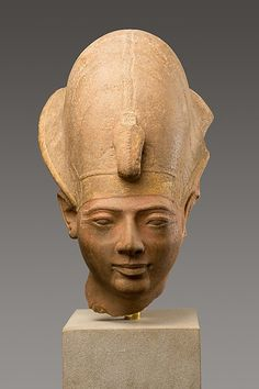 Head of King Amenmesse Wearing the Blue Crown Period: New Kingdom, Ramesside Dynasty: Dynasty 19 Reign: reign of Amenmesse Date: ca. 1203–1200 B.C. Geography: From Egypt, Upper Egypt; Thebes, Karnak, Temple of Amun, Hypostyle Hall