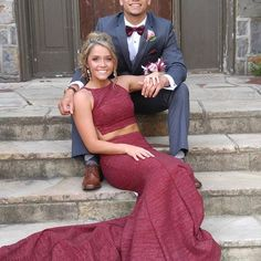 Two Piece Burgundy Prom Dress Cheap Long prom dress - Homecoming pictures - Prom Pictures Couples, Prom Couples, Prom Photos, Prom Pics, Teen Couples, Family Pictures, Cute Homecoming Pictures, Grad Pictures, Dance Pictures