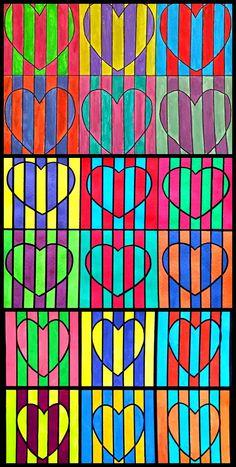 Los alumnos y alumnas de 1º ESO han trabajado el tema del color con varias propuestas CÍRCULOS CROMÁTICOS GAMAS CROMÁTICAS: ... Valentines Art, Valentines Day Activities, Drawing For Kids, Art For Kids, Arte Elemental, Drawing Activities, Homemade Art, Illusion Art, High Art