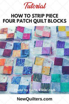 Four-Patch Quilt Blocks: Strip Piecing Tutorial Beginner Quilt Patterns, Quilting For Beginners, Quilt Block Patterns, Quilting Tips, Quilting Tutorials, Quilting Projects, Quilt Blocks, Sewing Projects, Beginner Quilting