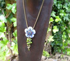 Beaded lace flower with swarovski crystal and lime ocean jasper https://www.etsy.com/au/listing/260794051/beaded-lace-flower-necklace-with-lime