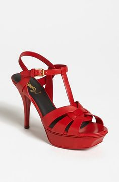 Saint Laurent 'Tribute' Sandal available at #Nordstrom. I like it best in red.
