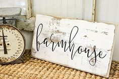 Cute Farmhouse rustic wood sign designed & handcrafted by Three Arrows. We…
