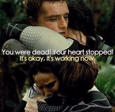 I love this part in Catching Fire bc it shows just how much Katniss has come to care for Peeta no matter how cool she seems toward him. Hunger Games Memes, The Hunger Games, Hunger Games Fandom, Hunger Games Catching Fire, Hunger Games Trilogy, Johanna Hunger Games, Katniss And Peeta, Katniss Everdeen, Suzanne Collins