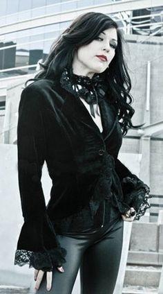 Veste Gothique Victorien Chic Star Velours Noir