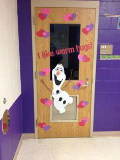 Pinspired Tricks and Treats: Olaf Valentine's classroom door - I like warm hugs!