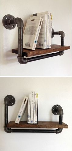 Reclaimed Wood Pipe Book Shelf I am going to use this idea for the extra closet space I am planning, must be sure it hits studs, though. Pipe Furniture, Industrial Furniture, Industrial Design, Industrial Pipe, Modern Furniture, Industrial Office, Casa Retro, Diy Rangement, Do It Yourself Furniture